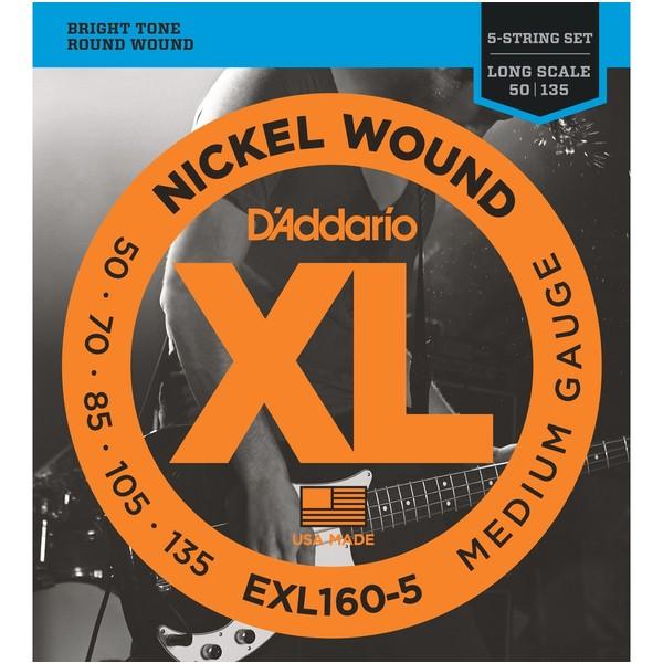 """Гитарные струны DAddarioГитарные струны<br>Комплект из пяти струн для бас-гитар со средней длиной мензуры до 36 1/4 дюймов. Входят в серию Nickel Wound: стальная обмотка, покрытая никелем. Толщина от первой до последней струны: 0.050"""", 0.070"""", 0.085"""", 0.105"""", 0.135"""".<br>"""