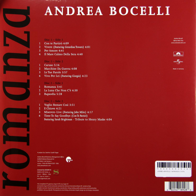 Andrea Bocelli - Romanza (2 LP) от Audiomania