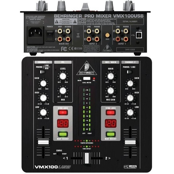 DJ микшерный пульт BehringerDJ микшерный пульт<br>DJ-микшер на два канала с возможностью подключения динамического микрофона и USB-разъемом. Работа в качестве USB-аудиоинтерфейса 2х2 с CD-качеством 16 бит/44,1 кГц. Заменяемый кроссфейдер на VCA с переключением формы кривой, сверхпрочные канальные фейдеры на 500 тыс. циклов, а также счетчики BPM с ЖК-дисплеем и кнопками синхронизации ритма. В комплект входит пакет ПО для ПК/Mac, включая редактор Audacity и загружаемые с сайта Behringer приложения Podifier и Golder Ear.<br>