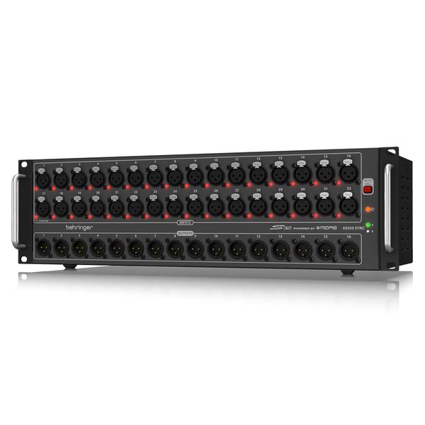 Аксессуар для концертного оборудования BehringerАксессуар для концертного оборудования<br>Стейдж-бокс, 32 микрофонных/линейных входов, 16 линейных выходов XLR, 2 x AES50, 2 x AES/EBU, ULTRANET, 2 x ADAT, 3U<br>