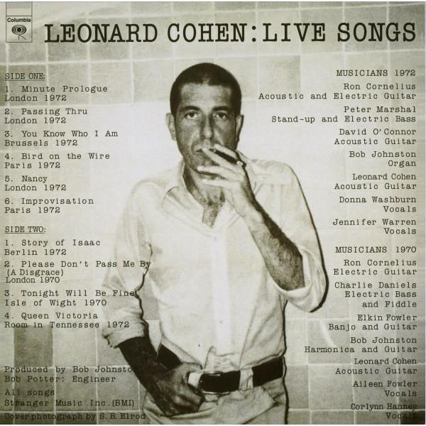 Leonard Cohen Leonard Cohen - Live Songs leonard cohen poems