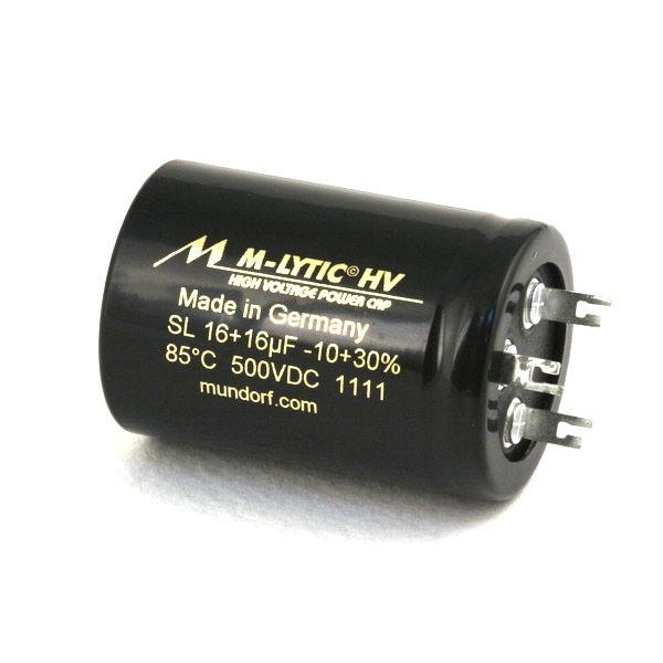 Конденсатор MundorfКонденсатор<br>Напряжение, В: 500; Размер, мм: 35 * 50; Ёмкость, мкФ: 2x16<br>