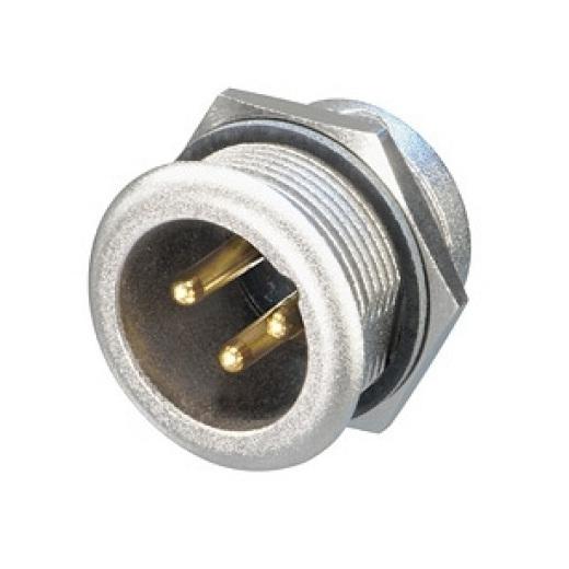 Терминал XLR NeutrikТерминал XLR<br>Разъем XLR панельный, 3 контакта, штекер ( папа ), влагозащищенный IP65, позолоченные контакты<br>