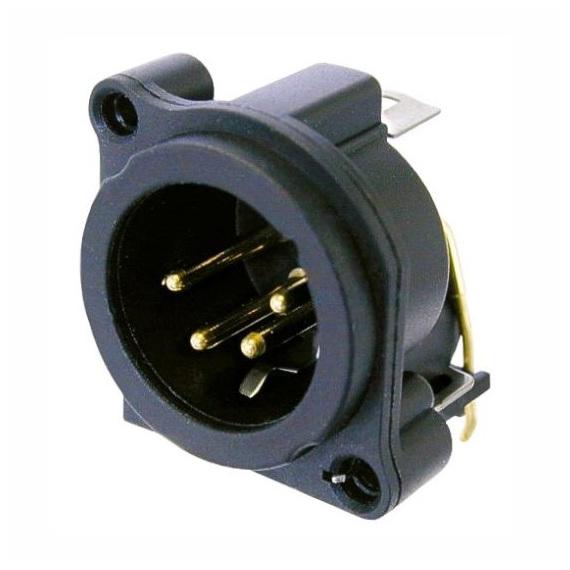 Терминал XLR NeutrikТерминал XLR<br>Разъем XLR панельный, 4 контакта, штекер ( папа ), горизонтальный, для установки в печатные платы, тип-A, земля-корпус-панель соединены<br>