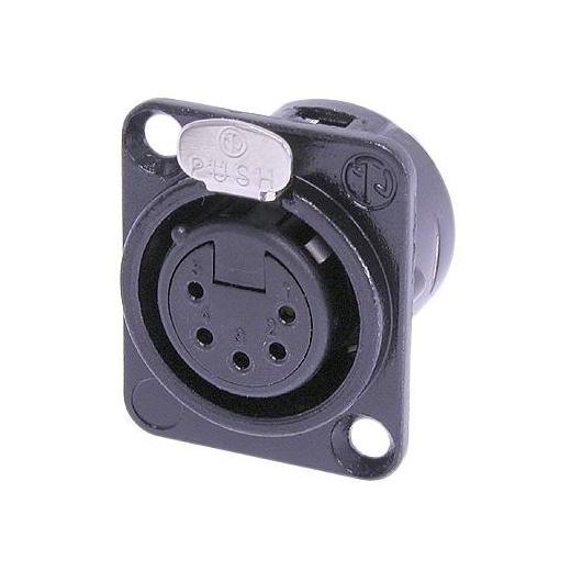 Терминал XLR NeutrikТерминал XLR<br>Разъем XLR панельный, 5 контактов, гнездо ( мама ), тип-D, черный корпус, позолоченные контакты<br>