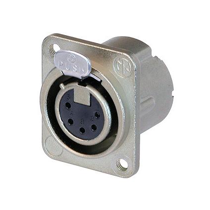 Терминал XLR NeutrikТерминал XLR<br>Разъем XLR панельный, 5 контактов, гнездо ( мама ), тип-D, дополнительная защита от радиочастотных помех, крепежные отверстия M3, посеребренные контакты<br>
