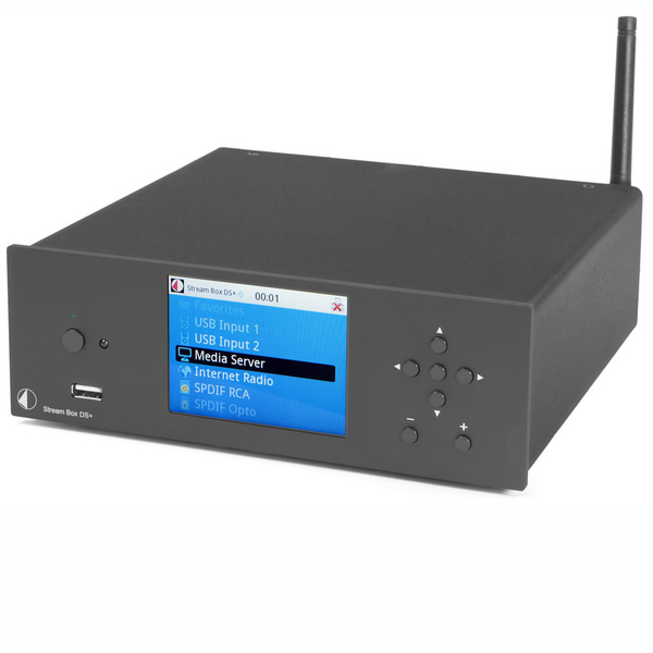 """Сетевой проигрыватель Pro-JectСетевой проигрыватель<br>Сетевой проигрыватель с функцией предусилителя и ЦАПа, PCM 1796, Wi-Fi, AirPlay, цветной ЖК-дисплей 3,5"""", входы: Ethernet, коаксиальный, оптический, USB, 2 RCA, управление через iOS или Android, внешнее питание, габариты 206x72x230 мм, вес 2,8 кг.<br>"""