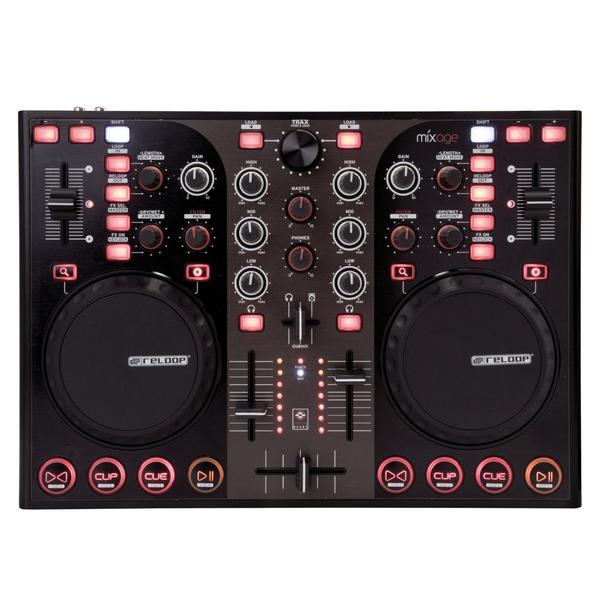 DJ контроллер ReloopDJ контроллер<br>Mixage IE Профессиональный USB/MIDI Dj контроллер со встроенным аудио интерфейсом, прочный металический корпус, индикация 2 каналов,звуковая карта Texas Instruments, регулировка чуствительности джогов<br>
