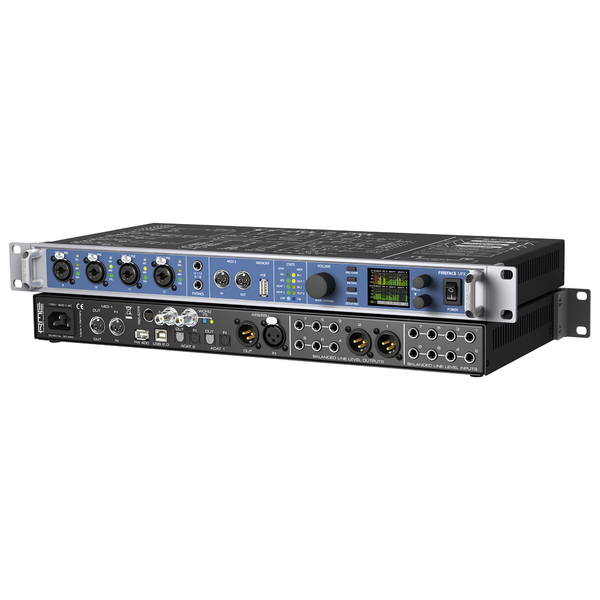 Внешняя студийная звуковая карта RMEВнешняя студийная звуковая карта<br>60-канальный профессиональный аудиоинтерфейс в рэковом формате с возможностью подключения по USB и Firewire. АЦП/ЦАП – 24 бит/192 кГц, есть аналоговые и цифровые подключения и 4 микрофонных предусилителя на комбинированных входах XLR/TRS. Внутренний DSP-микшер TotalMix и ПО DIGICheck для анализа звука в комплекте.<br>