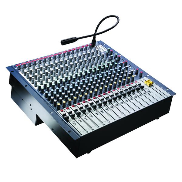 Аналоговый микшерный пульт SoundcraftАналоговый микшерный пульт<br>Инсталляционный микшер в рэковом исполнении с поворотной коммутационной панелью. 12 моноканалов XLR+TRS, 2 стереоканала, 10 шин, микрофонные предусилители GB30, переключаемое фантомное питание +48В. НЧ-фильтры, прямые выходы на каждом канале, канальные и мастер-фейдеры 100 мм.<br>