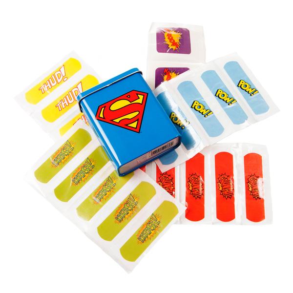 Набор лейкопластырей SupermanСувенир<br>Металлическая коробка (7 х 9 х 2,5 см), в комплекте 25 цветных пластырей (5 квадратных и 20 прямоугольных).<br>