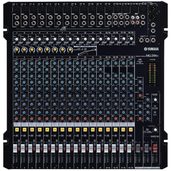 Аналоговый микшерный пульт YamahaАналоговый микшерный пульт<br>Микшерный пульт, 20 каналов, 6 шин (стерео + 4 подгруппы), 16 микрофонных входов + 4 линейных стереовхода, встроенный компрессор (8 каналов), 4 AUX посыла, 2 стереовозврата AUX<br>